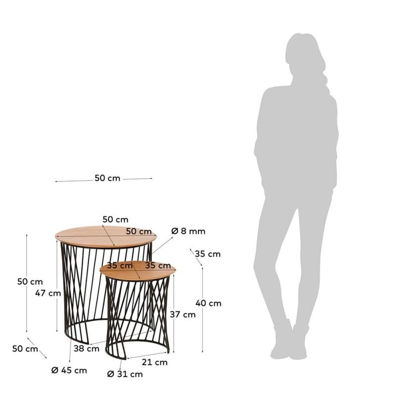 Mesa auxiliar HELLA con pies de madera de mango y sobre en